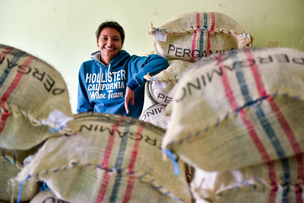 Pic by Neil Palmer (CIAT). Sacks coffee beans in the village of La Florida in Colombia's southern Nariño Department, waiting to be exported.