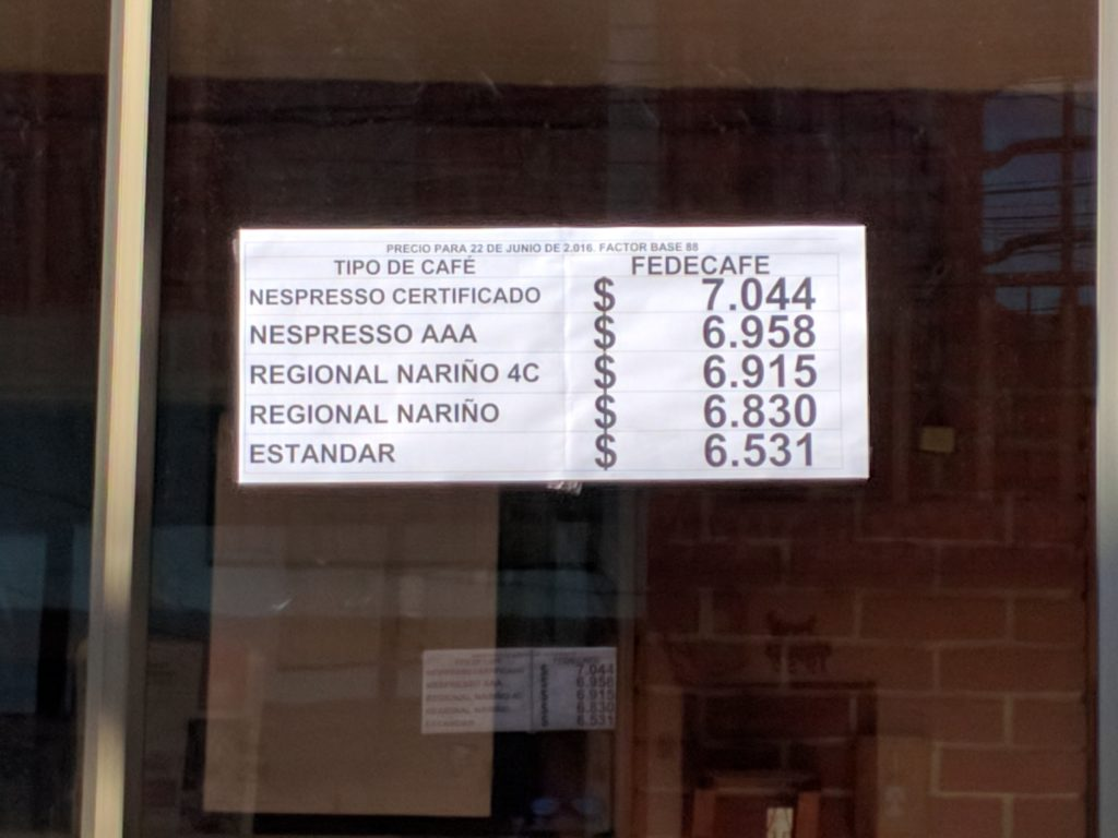 Posted prices at the Plaza, Nariño, Colombia. Photo by Kraig Kraft.